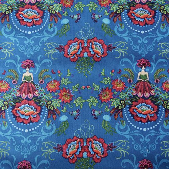 Coton Femmes Jardin Bleu