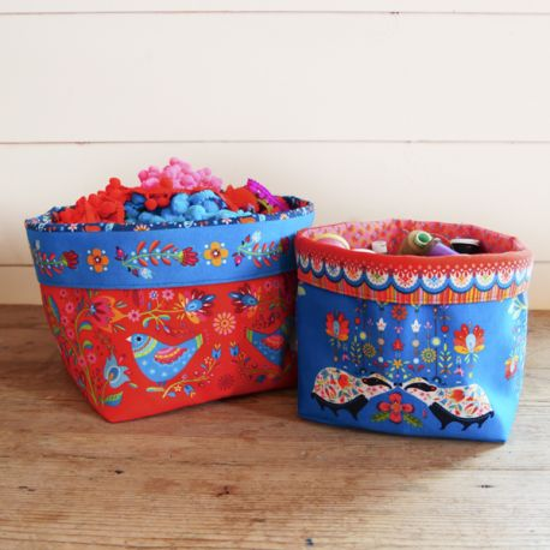 Sewing Kit 2 Velvet Storage Baskets Folk