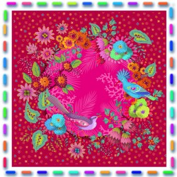 Kit couture velours Coussin Carré enchanté rose