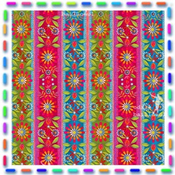 Mini bordures coton Mexico bleue