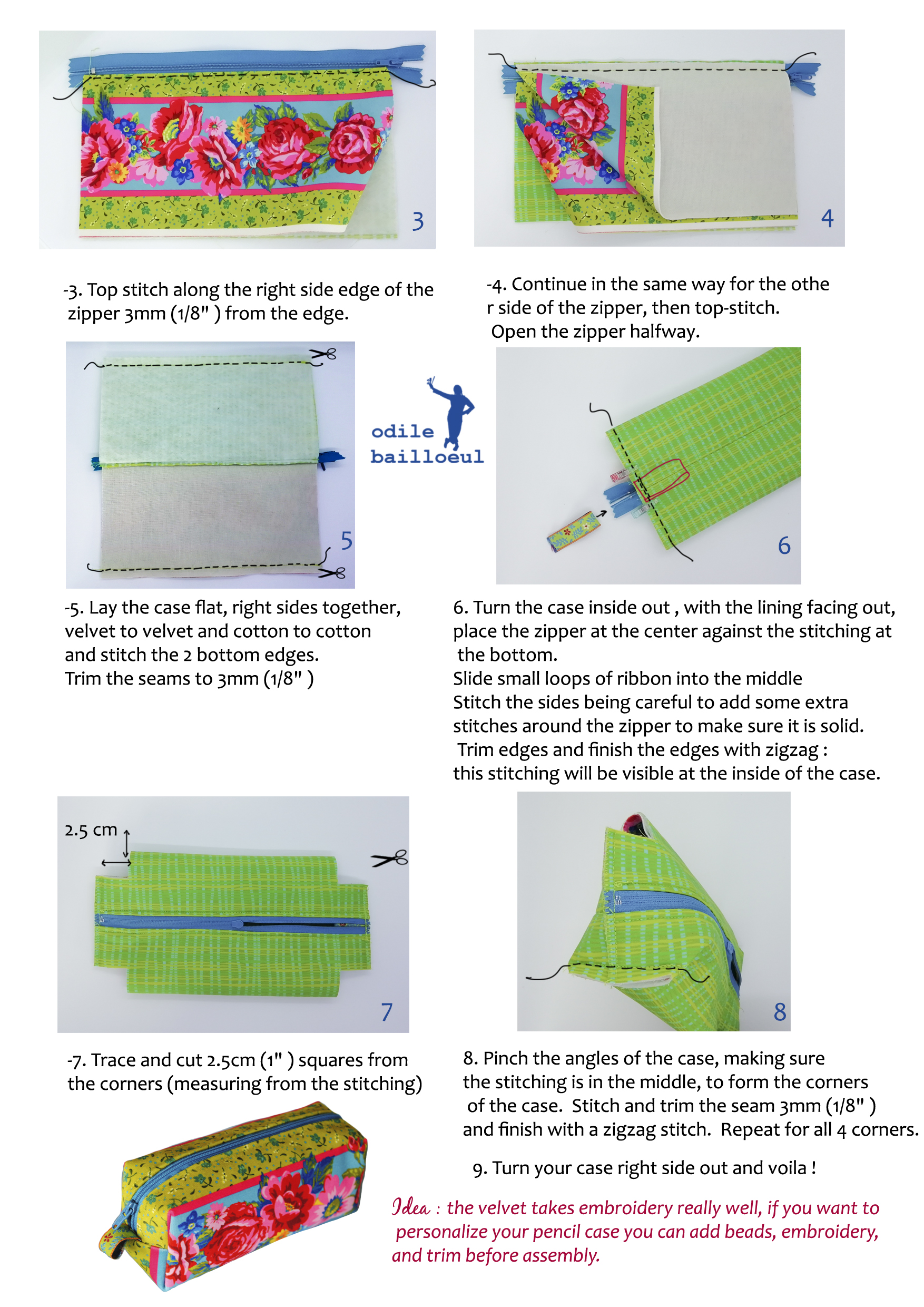 Tutorial for pencil case page 2